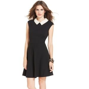 Betsey Johnson Pearl Collar Black Flare Dress